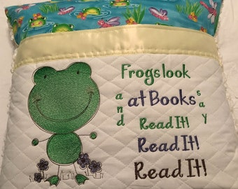Pocket pillow reading pillow child reading pillow green frog fabric zip close yellow satin trim yellow vintage chenille frog  embroidery