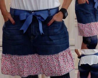 Denim half apron cotton pink flowered ruffle blue grosgrain ribbon ties long waist ties dark blue denim apron repurposed denim