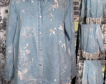 Womens light blue denim duster jacket embroidered flowers upcycled vintage crochet curtain side insets vintage lace ruffle hems