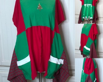Women's tee shirt tunic red green red plaid rhinestone Christmas tree tunic shirt upcycled tee shirt red bling tee Christmas shirt  L