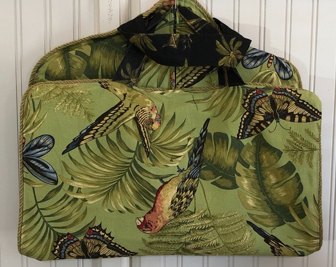 Garment bag travel green palm trees butterfly bird upholstery fabric braided trim light weight garment bag zip pocket two handle zip bag