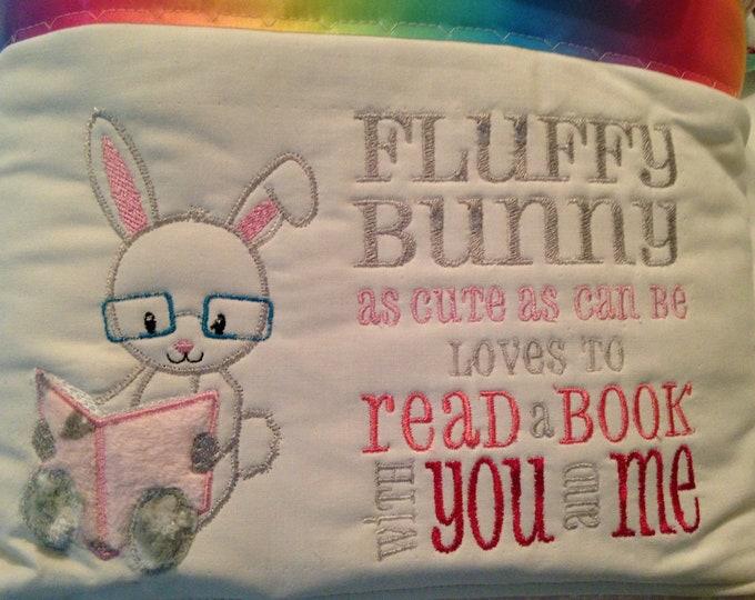 Pocket pillow bunny reading pillow pink child reading pillow fluffy bunny quote zip close rainbow satin kissing bunnies print pink cotton