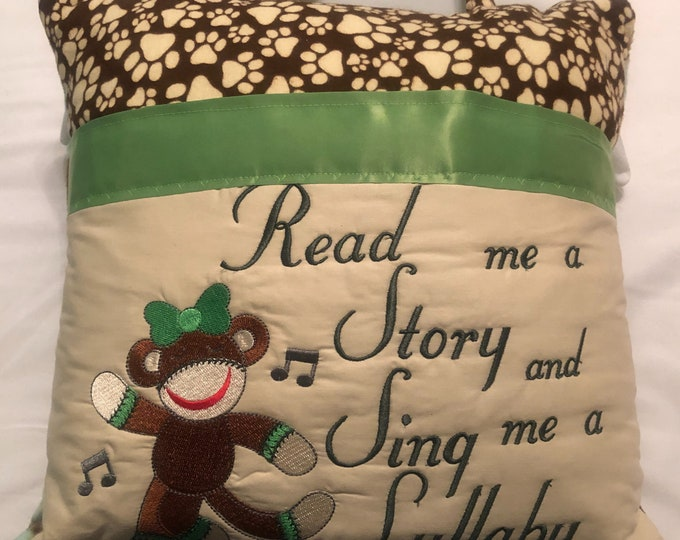Pocket reading pillow green brown monkey childs reading pillow handle pocket sock girl monkey green flannel monkey print zipper close