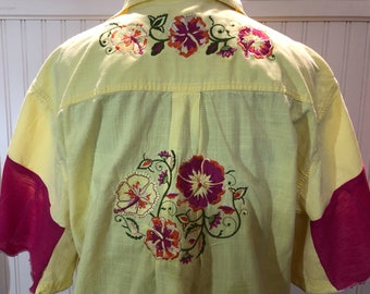 Women shirt bright yellow hot pink cotton linen  Embroidered back pink inset flare sleeves split hem low hip tunic length