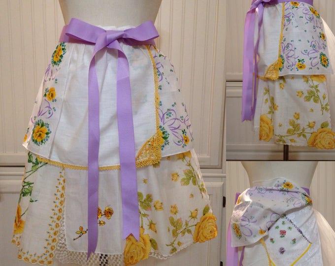 Vintage half apron handkerchief shabby chic yellow roses purple bows lavender grosgrain ribbon long ties embroidered hankies hidden pockets