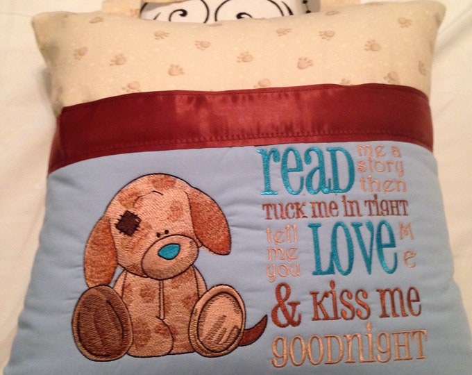 Pocket pillow puppy dog reading pillow children reading pillow read me a story kiss me good night flannel puppy dog print fabric handle