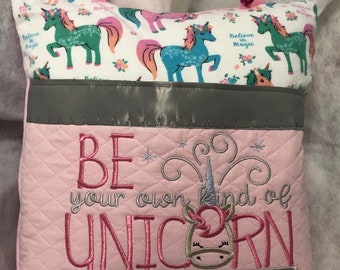 Book Pocket pillow embroidered unicorn silver gray satin trim green pink unicorn print pink fleece pink quilted pocket be a unicorn quote