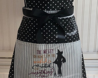 Full Apron Vintage style black polka dot sweetheart bodice Halloween pocket embroidery black grosgrain ribbon ties witch embroidery
