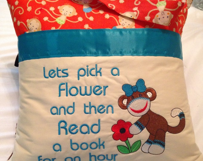 Pocket reading pillow orange blue brown monkey childs reading pillow fabric handle pocket sock girl monkey flannel paw print zipper close