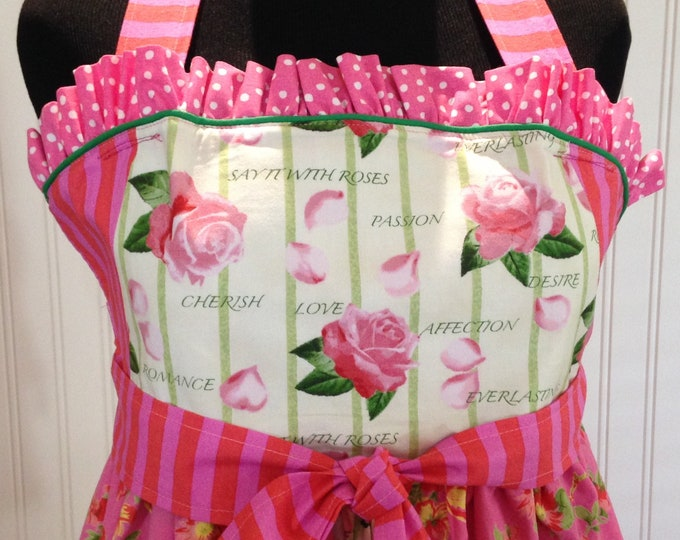 Womens full apron Tudor style hot pink rose print double skirt polka dot ruffled bodice flowered vintage tablecloth green trim empire waist
