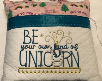 Book Pocket pillow embroidered unicorn silver blue satin trim pink unicorn print pink flannel white quilted pocket be a unicorn quote