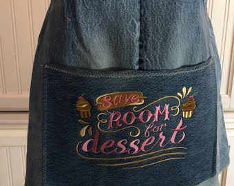 Denim full apron women's denim apron dress Cross back suspender straps denim shabby chic up cycled denim dessert embroidered pocket