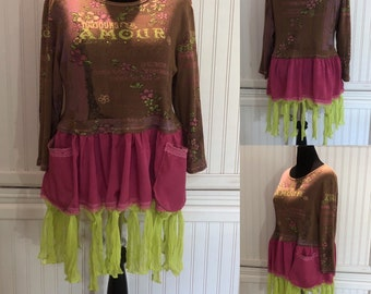 Womens upcycled tunic dress tee long sleeve pop over top brown pink green bling amour two pockets pink green fringed skirt Easy fit XL shirt