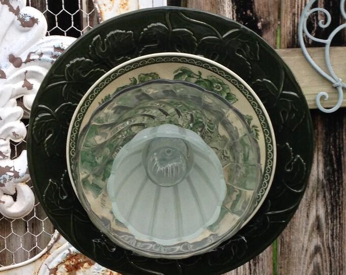Yard Art Glass Flowers repurposed plates vintage reproduction plate forest green porcelain plate flower garden art shabby chic yard art