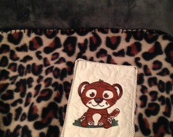 Nap mat cover Childs sleep mat cover Brown leopard cheetah spots embroidery black webbing handle sturdy back dark brown velvety soft