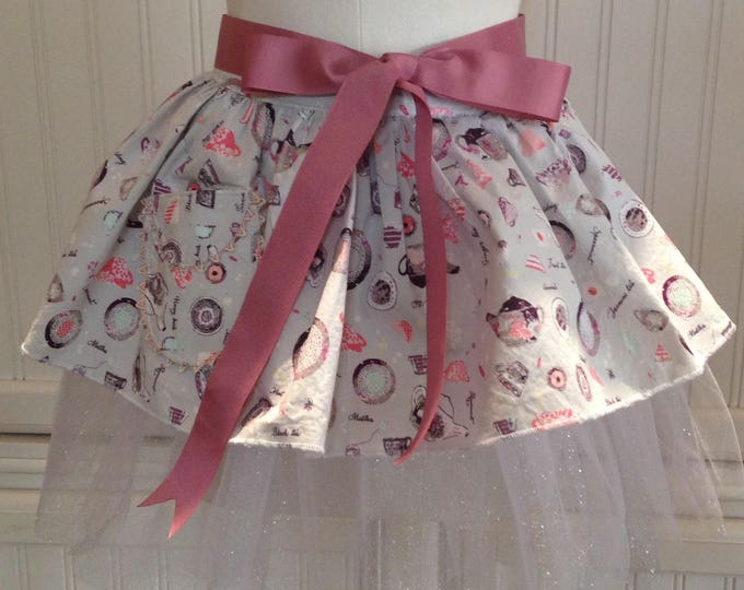 Tutu for Tea  daughter aprons gray pink tea cup sparkle and shine tulle ballerina tutu pink mauve grosgrain ribbon ties ricrac pocket