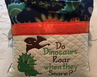 Pocket pillow embroidered dinosaur child reading pillow zip close orange satin trim navy blue green orange dinosaur print soft  fleece