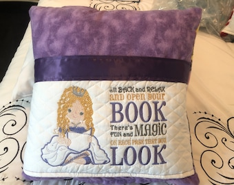Pocket pillow princess embroidery dark purple satin trim reading pillow childs reading purple flannel princess fleece print cotton zip close