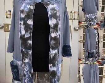 Womens blue cream abstract duster jacket wedge wood blue sweatshirt upcycled quarter sleeve denim pocket jacket plus size duster langenlook