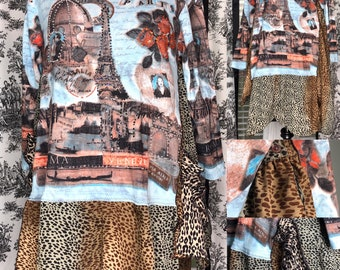 Womens tunic dress L upcycled blue black brown animal print tee langenlook  asymmetric hem black brown animal print pockets Rome Paris bling