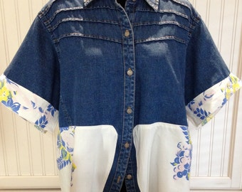 Women's upcycled 90s denim short sleeve jacket embroidered denim hearts Blue pink yellow vintage tablecloth upcycle trimmed sleeves buttons