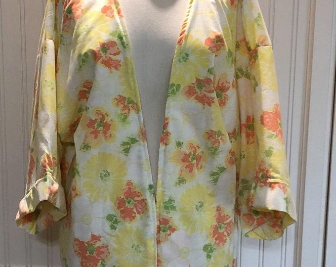 Vintage up-cycled Kimono yellow orange white cotton large size cotton jacket 3 quarter sleeves repurposed vintage sheet upcycled couture