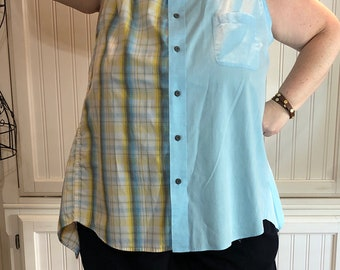Women XL Tank Dress upcycled shirts blue yellow plaid tank dress A line high low hem cotton light weight tank tie straps yellow bias trim