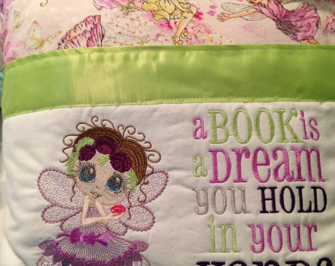 Pocket pillow fairy reading pink green child reading pillow pink fairy fabric zip close green satin trim pink flower fairies back