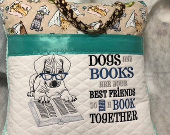 Pocket pillow puppy dog reading pillow dog bathing children's reading pillow dog paw print handle dogs and books quote embroidered puppy dog