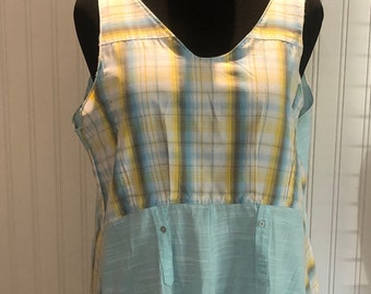 Women XXL Tank Dress upcycled shirts yellow aqua blue plaid vintage linen pocket tank dress A line hanky hem light weight tank vintage lace