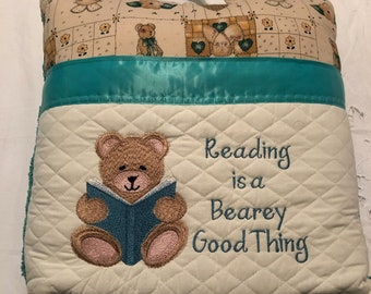 Pocket pillow embroidered bear child reading pillow reading quote zip close aqua green satin trim brown bear reading vintage cotton print