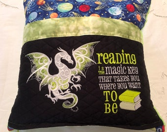 Pocket pillow glow in dark embroidery dragon child reading pillow reading quote zip lime green satin trim blue planets lime green minky