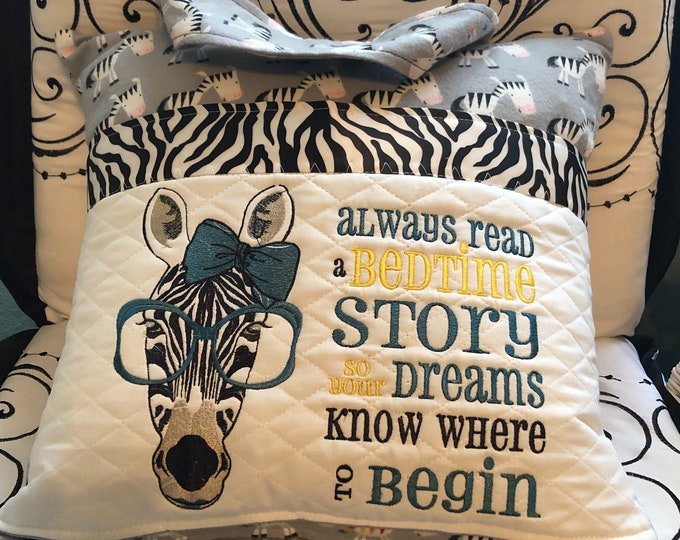 Pocket pillow zebra reading pillow teal blue glasses childs reading pillow zoo zebra flannel fabric handle story dreams quote zip close