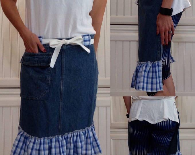 Denim half apron cotton blue gingham check ruffle cotton White webbing ties long waist ties dark blue denim apron repurposed denim