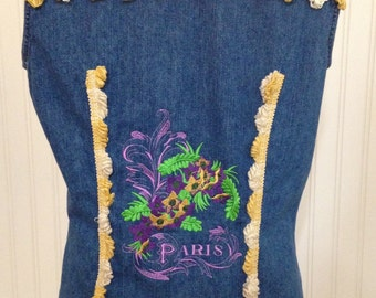 Womens PM upcycled denim vest embroidered Paris flair purple gold flowers vintage gold cream braided fringe trim fringe collar trim