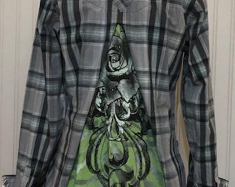 Womens western shirt gray green black plaid black roses wings bling rodeo shirt upcycled cruel girl shirt S M snap sleeve shirt black lace