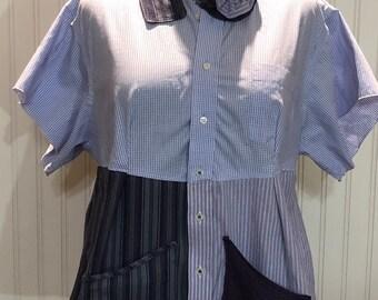 Womens purple gray upcycled XL shirt tunic shirt two pocket cotton shirt repurposed shirt purple  white and purple gray striped shirt
