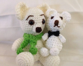 Crochet white bear pair cream bear Childs toy stuffed bear small white bear handmade crocheted bear white black green crochet stuffed toy