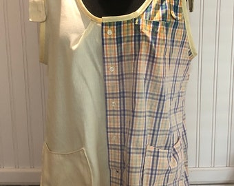 Women XXL Tank Dress upcycled shirts yellow blue orange plaid two pocket tank dress A line hanky hem cotton light weight tank tie straps