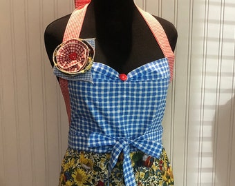 Womens full apron chicken sunflower yellow blue red gingham ruffles cotton shabby chic rooster print blue red gingham ruffle posh girl apron