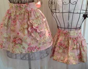 Mother & Daughter Aprons tutu for tea apron set tea party aprons tulle apron ribbon ties half apron mommy and me aprons Custom Select Fabric