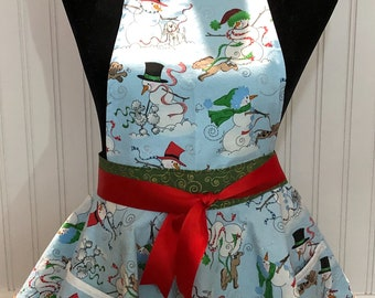 Child's Full Apron circle skirt style Christmas apron blue snowman sparkle print red ribbon ties green swirl underskirt