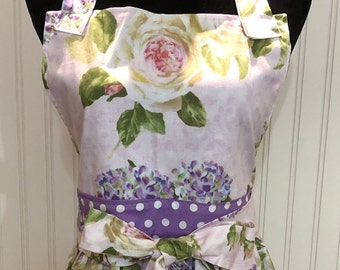 Full apron lilac roses purple polka dots reversible apron square bodice pink lilac print apron full reversible two pocket apron