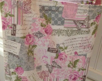 vintage paris handmade market bag, reversible, vintage inspired pink flowered, Paris print, shabby chic