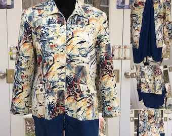 Womens navy yellow cream abstract duster jacket navy tee back long sleeve upcycled jacket Large duster langenlook