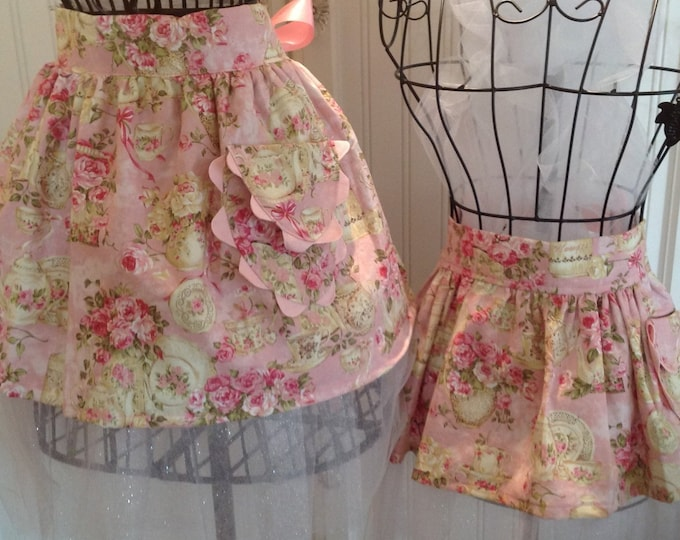 Featured listing image: Mother & Daughter tutu for tea apron set with tulle skirt and ribbon ties half apron mommy and me aprons Custom Select Fabric