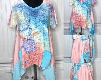 Womens XL Aqua peach tee shirt tunic Sea turtle graphic print lagenlook easy fit pocket tunic upcycled pocket tunic sea turtle water print