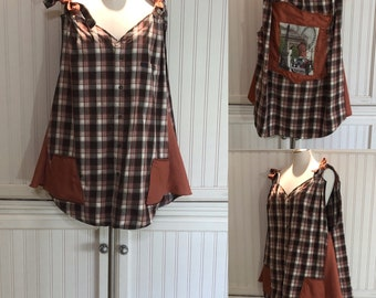 Women XL Tank Dress upcycled shirts copper brown rust plaid two pocket tank dress A line cotton light weight wide straps Paris picture back