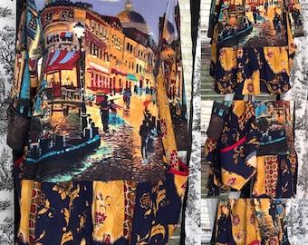 Womens tunic dress blue tan black bling Paris Venice street theme flare print easy fit upcycled tee boho ruffle hem L to XL pockets