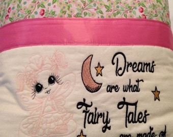 Pocket pillow fairy reading pillow pink  child reading pillow fairy fabric fairy tale quote zip close pink satin rosebud fabric flannel back